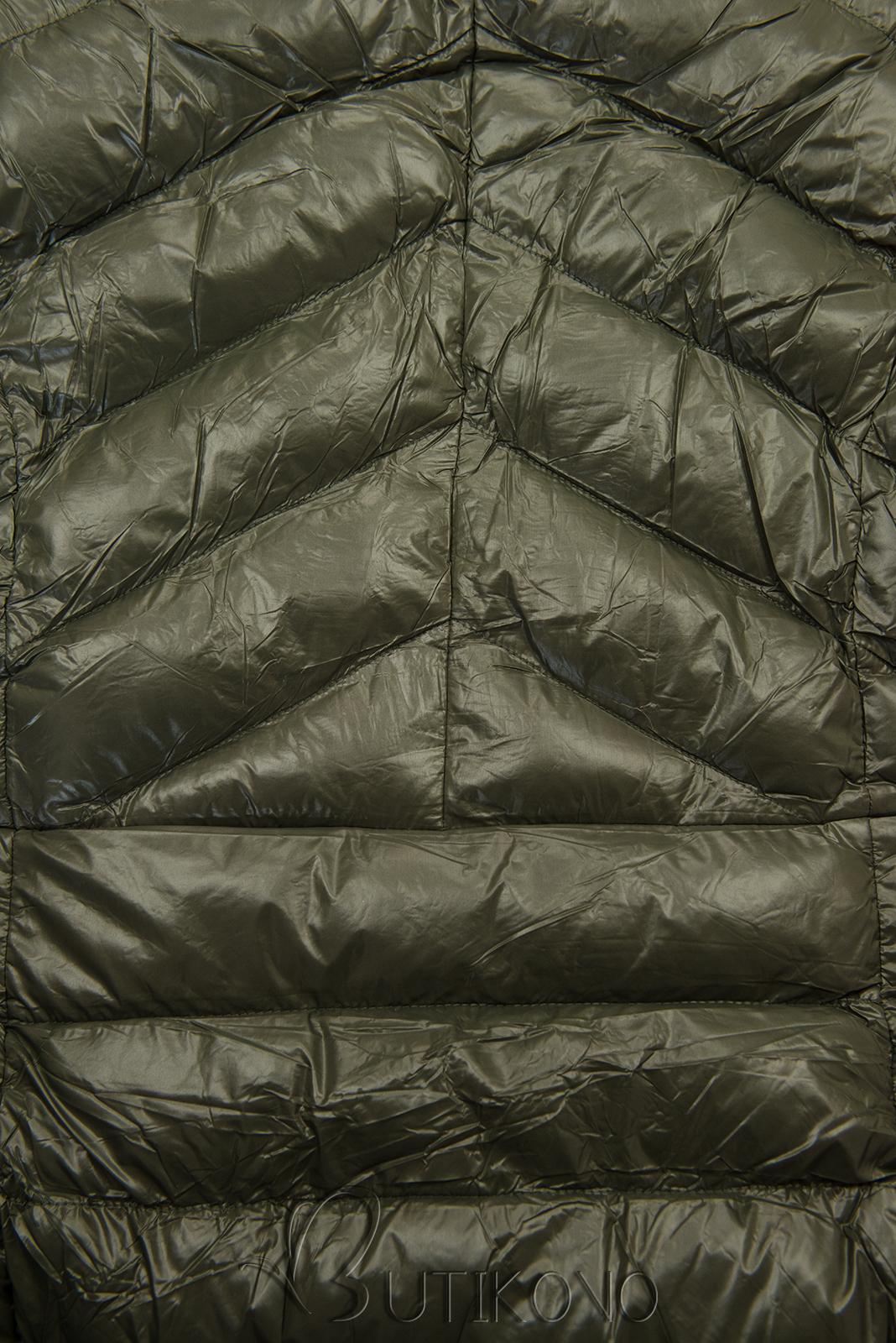 Khaki/béžová lesklá bunda s páskem