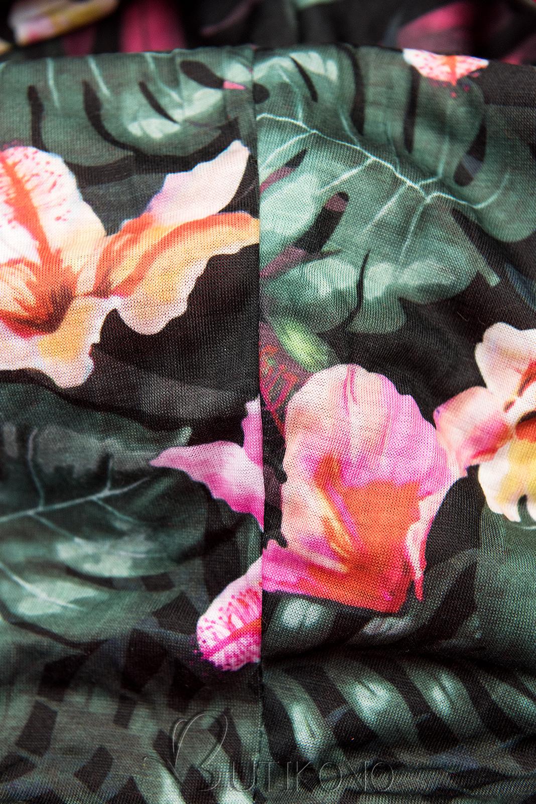 Khaki prodloužená mikina s barevnou podšívkou