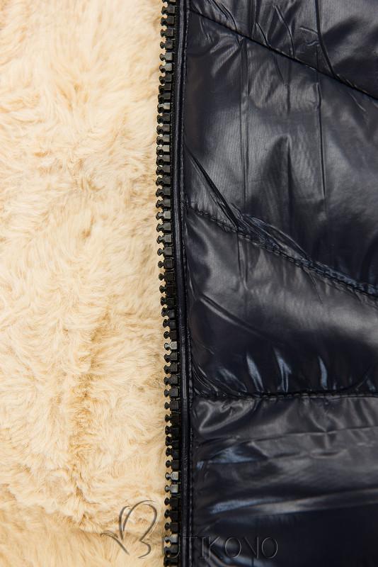 Tmavě modrá/béžová lesklá bunda s páskem
