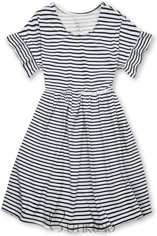 Modro-bílé volné pruhované šaty III.