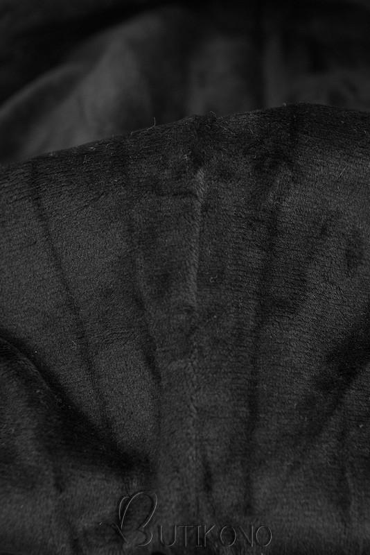 Černá mikina se sametovou kapucí