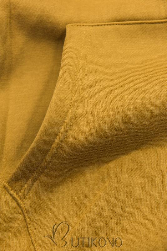 Mustard mikina se sametovou kapucí