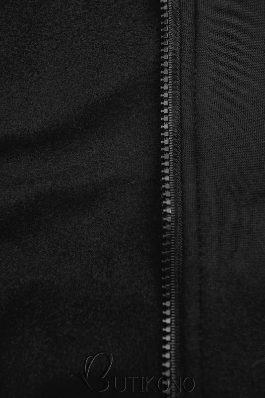 Černá prodloužená mikina s barevnou podšívkou