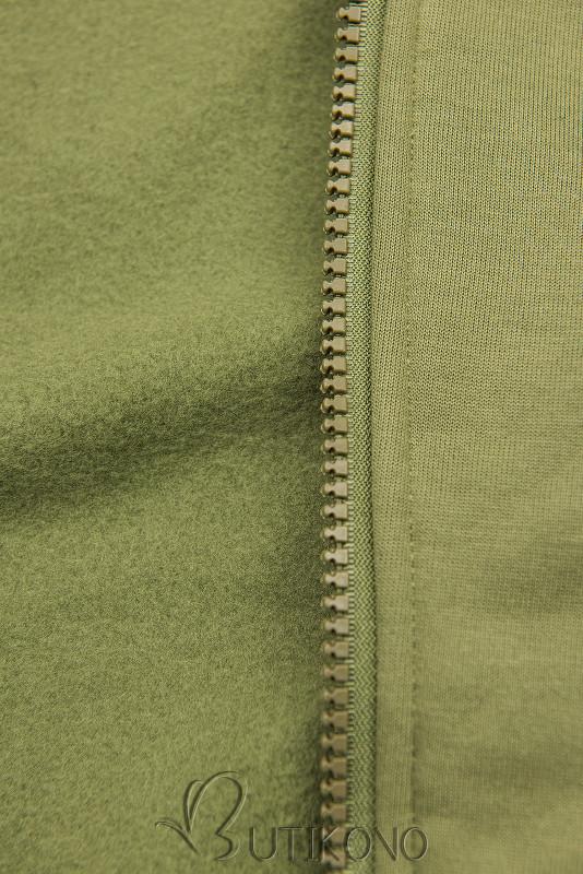 Army zelená prodloužená mikina s prošívanou kapucí