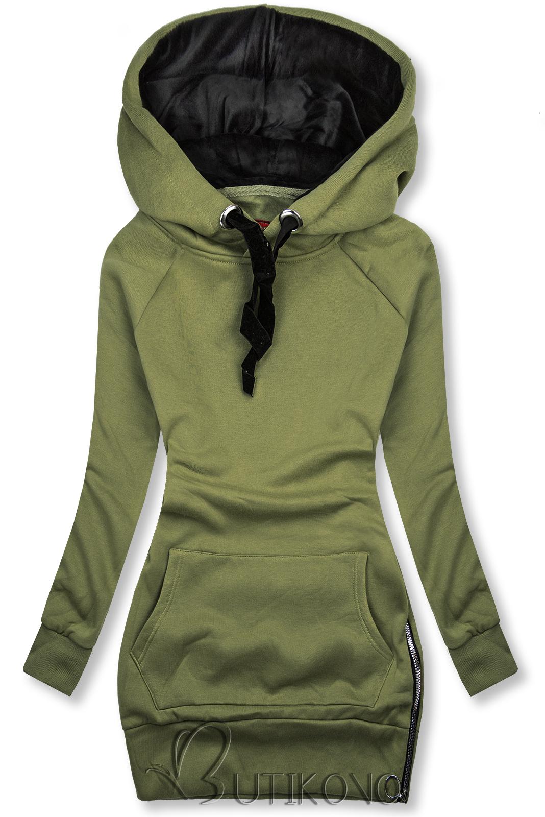 Khaki mikina se sametovou kapucí