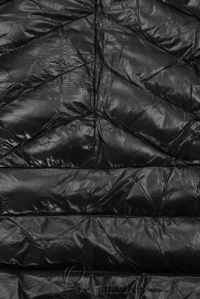 Černá/černá lesklá bunda s páskem
