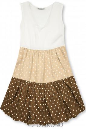 Tečkované šaty z viskózy bílá/béžová/hnědá