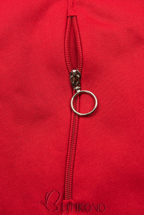 Červená prodloužená mikina s barevnou podšívkou