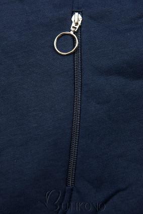 Tmavě modrá prodloužená mikina s barevnou podšívkou