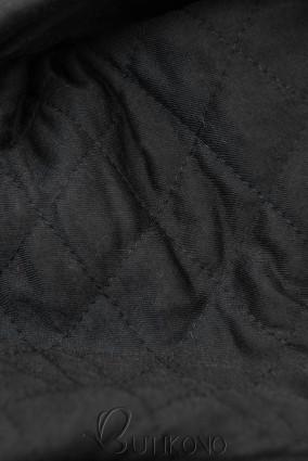 Černá prodloužená mikina s prošívanou kapucí