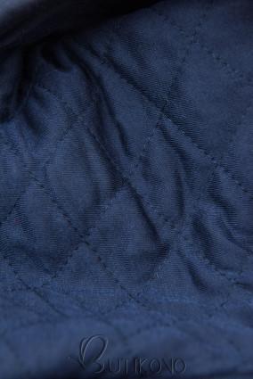 Tmavě modrá prodloužená mikina s prošívanou kapucí