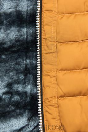Zimní prošívaná bunda s kapucí karamelová