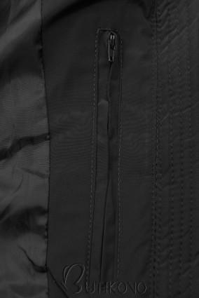 Černá zimní bunda v prodlouženém střihu