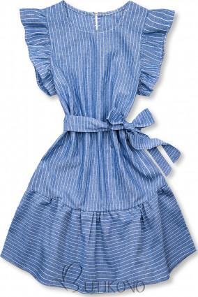 Modro-bílé pruhované šaty s volány