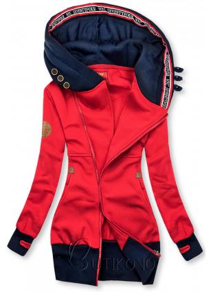 Prodloužená mikina s kapucí červená/modrá