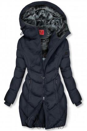 Tmavě modrá zimní bunda v prodlouženém střihu