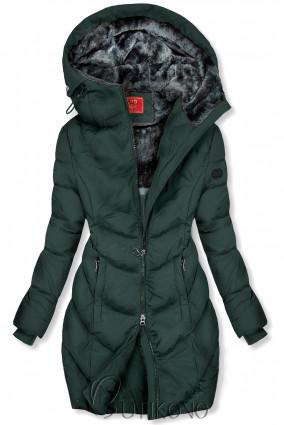 Tmavě zelená zimní bunda v prodlouženém střihu
