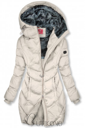 Krémově bílá zimní bunda v prodlouženém střihu