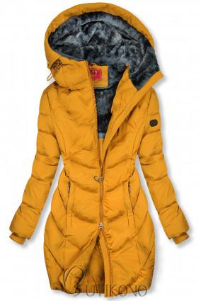 Žlutá zimní bunda v prodlouženém střihu