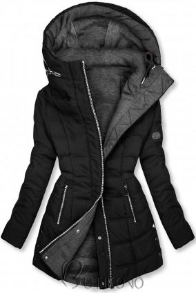 Černá/šedá oboustranná bunda ve sportovním stylu