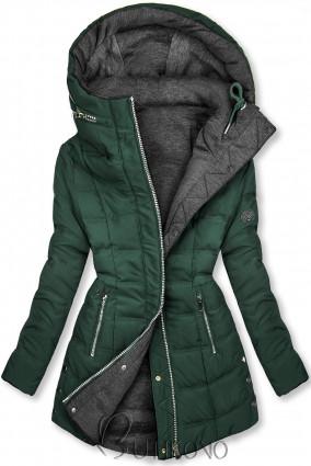 Tmavě zelená/šedá oboustranná bunda ve sportovním stylu