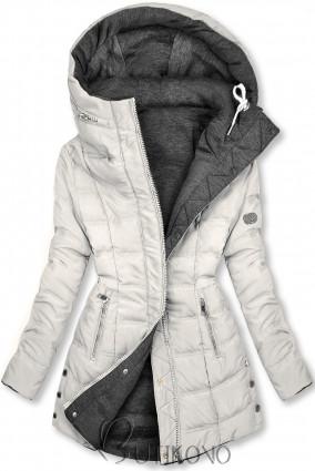 Ecru/šedá oboustranná bunda ve sportovním stylu