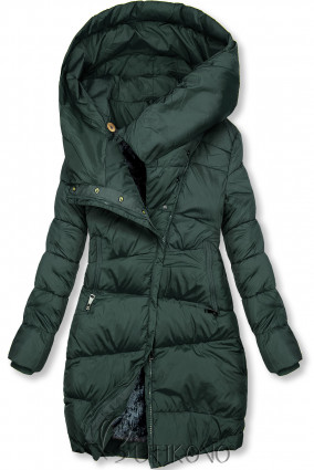 Tmavě zelená zimní bunda s vysokým límcem