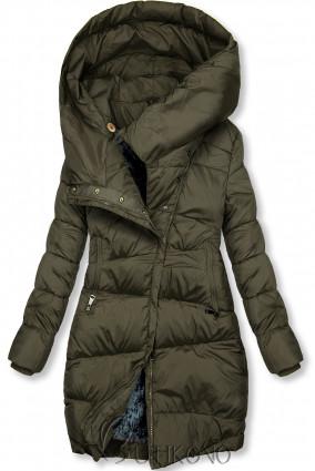 Khaki zimní bunda s vysokým límcem