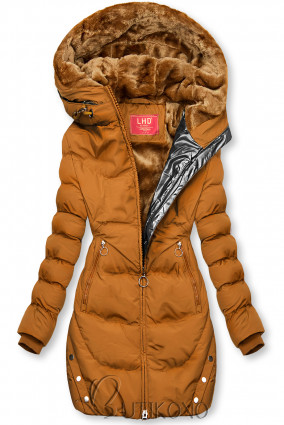 Karamelová zimní bunda se stříbrným lemem