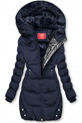 Tmavě modrá zimní bunda se stříbrným lemem
