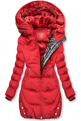 Červená zimní bunda se stříbrným lemem