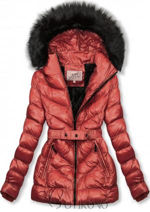 Cihlově hnědá zimní krátká bunda s černou kožešinou