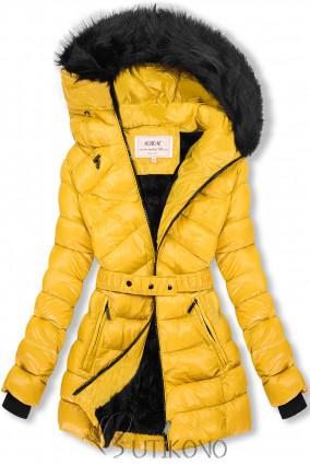 Žlutá/černá lesklá bunda s páskem