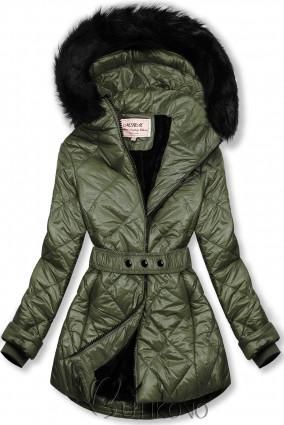 Khaki lesklá zimní bunda s páskem