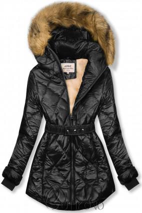 Černo-béžová lesklá zimní bunda s páskem