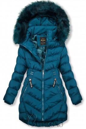 Petrolejově modrá zimní bunda s odnímatelnou kapucí