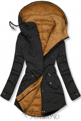 Tečkovaná oboustranná bunda černá/karamelová