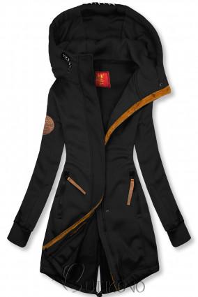 Černá mikina s kapucí v prodlouženém střihu