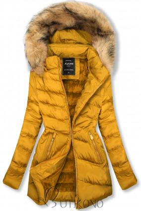 Prošívaná přechodná bunda žlutá