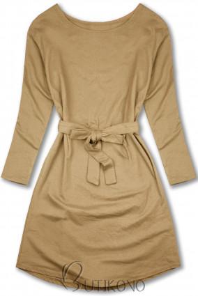 Béžové šaty se zavazováním v pase