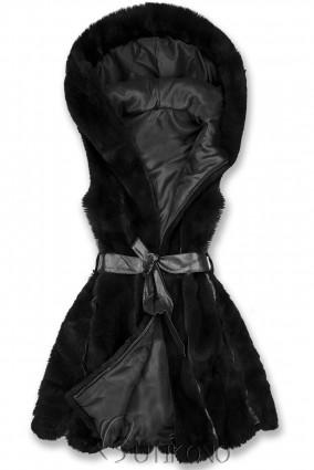 Černá kožešinová vesta s páskem
