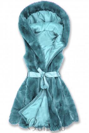 Tyrkysová kožešinová vesta s páskem