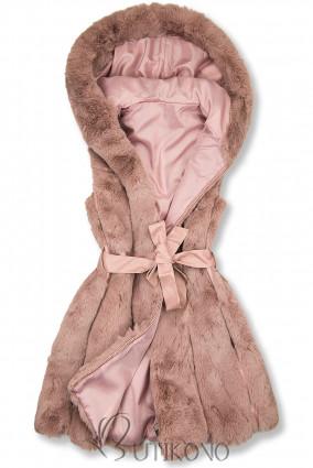 Starorůžová kožešinová vesta s páskem